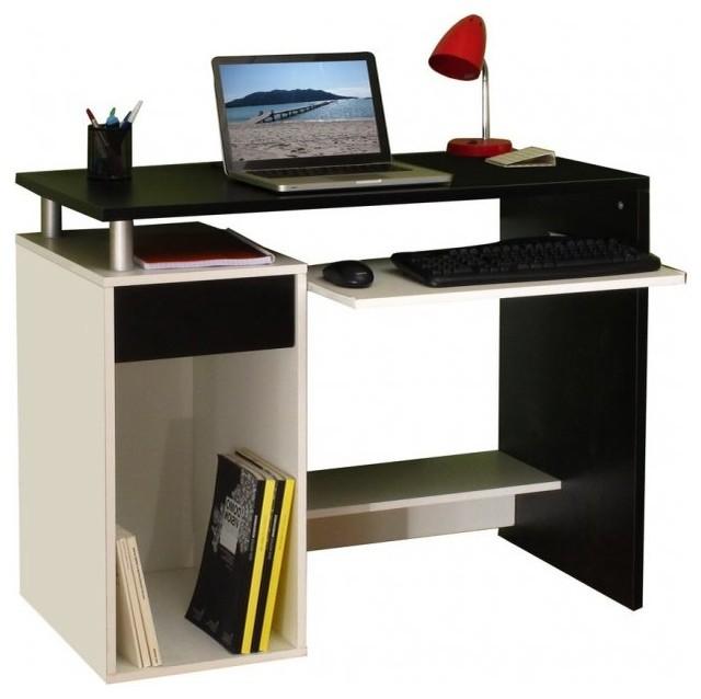 geek bureau informatique triple plateaux noir blanc. Black Bedroom Furniture Sets. Home Design Ideas