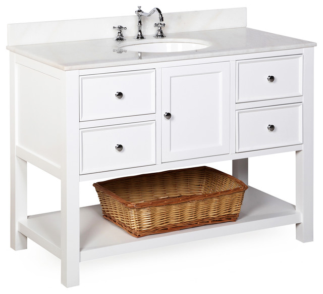 """New Yorker Bath Vanity White and White 48"""" transitional"""