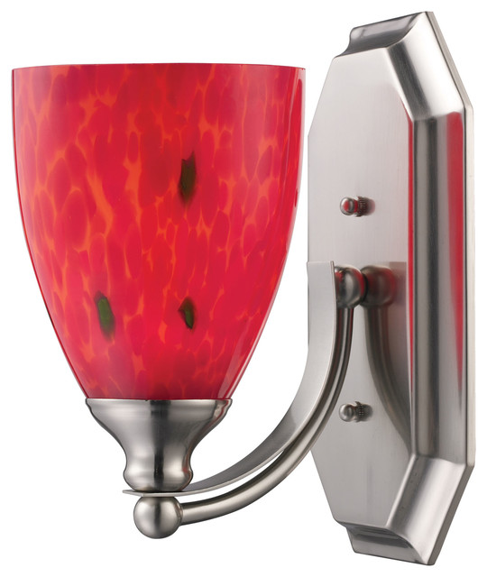 1 light vanity satin nickel and fire red glass for Red glass bathroom accessories