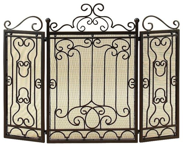 Victorian Antique Fireplace Screen Bronze Curled Art Living Room Decor Traditional Fireplace