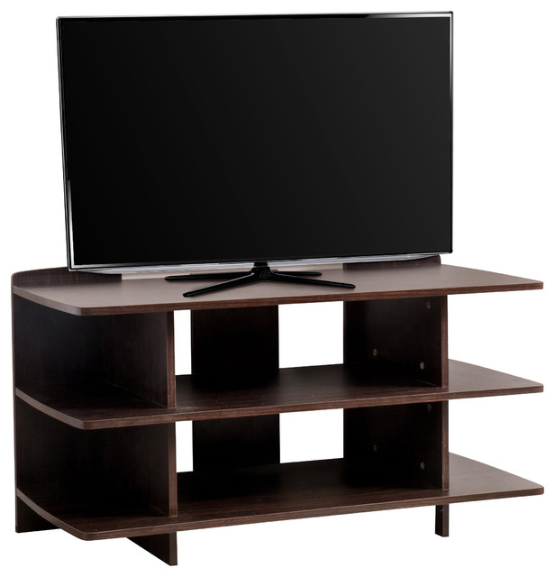 Ian 3-Tier Dark Walnut Wood Tv Console Stand - Contemporary - Entertainment Centers And Tv ...