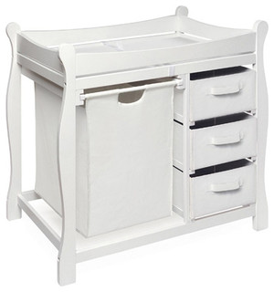 Sleigh style baby change table with 3 baskets and hamper for Modern changing table with hamper designs