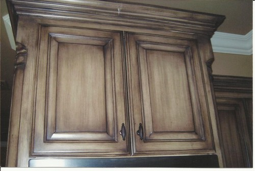 What color is stain and topcoat finish or is it paint over - Painting over stained kitchen cabinets ...