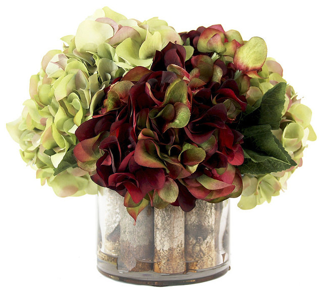 Burgundy and green hydrangea centerpiece contemporary