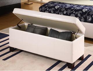 White synthetic leather storage bench contempor neo for Bancos de jardin con almacenaje