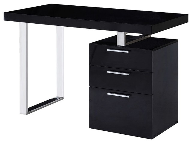 Geneva Modern Style Office Desk Black Gloss Modern