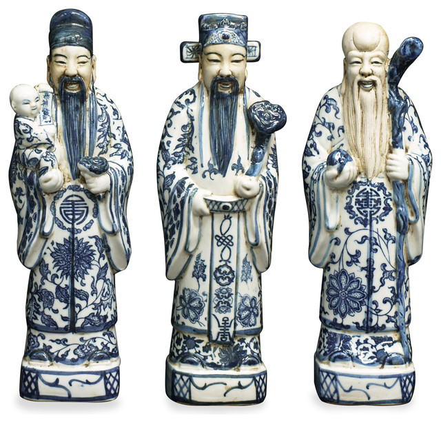 Blue And White Porcelain Three Lucky Gods Asian