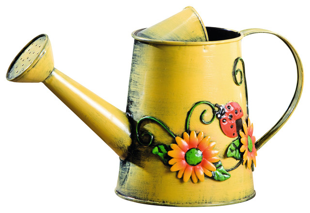 Decorative Sunflower And Ladybug Metal Watering Can