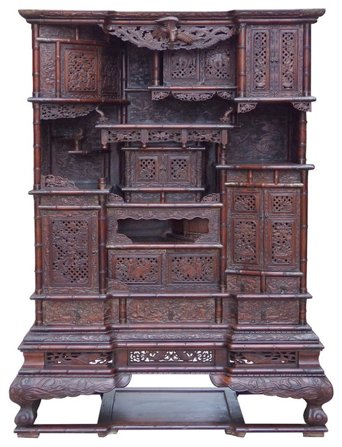 Chinese Rosewood Display Storage Hutch Cabinet Hcs1501-A - Asian - Accent Chests And Cabinets ...