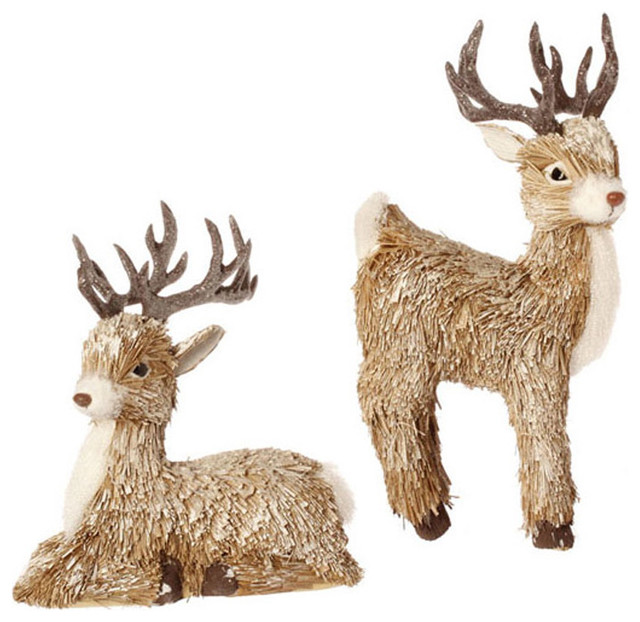 Deer ornaments set of 2 farmhouse christmas for Christmas deer decorations indoor