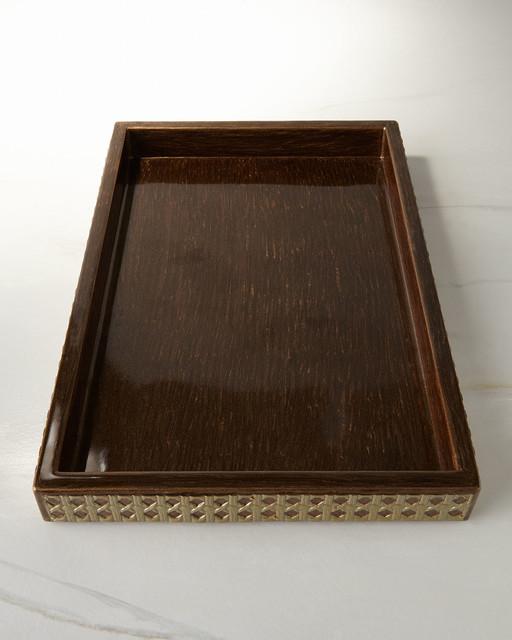Vanity tray bronze gold contemporary bathroom for Bathroom tray organizer