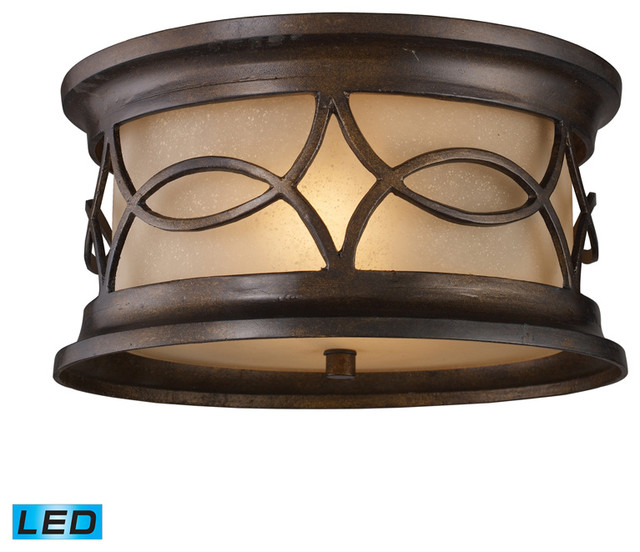 Elk 41999 2 led burlington junction bronze outdoor flush - Plafones para exteriores ...