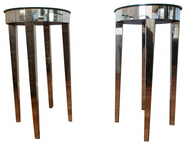 french deco mirrored side tables