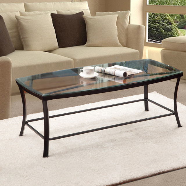 Adeco Glass And Black Metal Coffee Table Contemporary Coffee Tables By