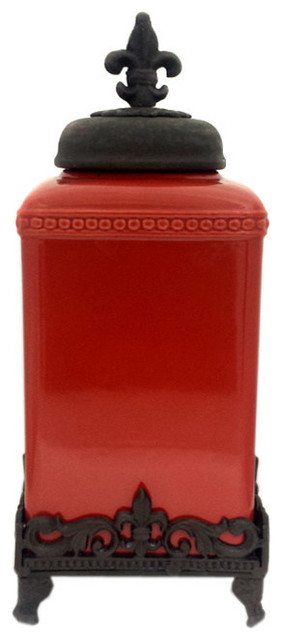 Fleur de lis canister set large traditional kitchen canisters and jars by trends - Fleur de lis canisters ...