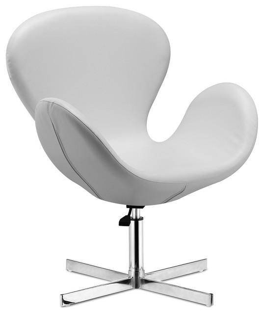 Cobble Swan Swivel Chair White Leather Modern