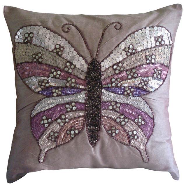 Pink Silk Throw Pillows : Butterfly Love Decorative Pink Silk Throw Pillow Cover, 14x14 - Contemporary - Decorative ...
