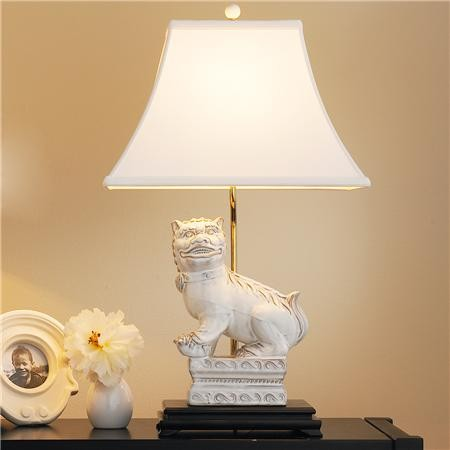 White Foo Dog Table Lamp Asian Table Lamps By Shades