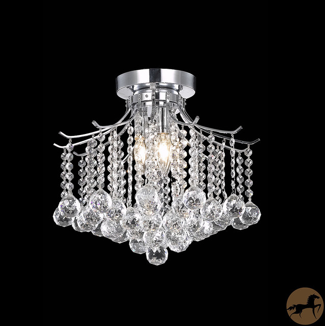 somette crystal 3 light chrome chandelier flush mount