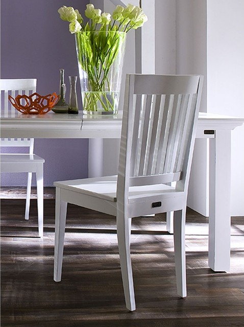Sturdy Whitehaven Painted Slatback Dining Chairs With Cushion Pair Contemporary Dining