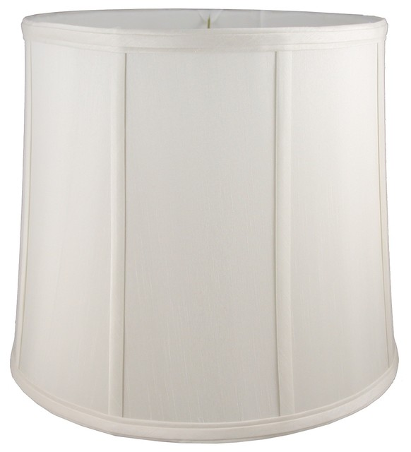 Round drum shaped off white lampshade lamp for Drum shaped lamp shades