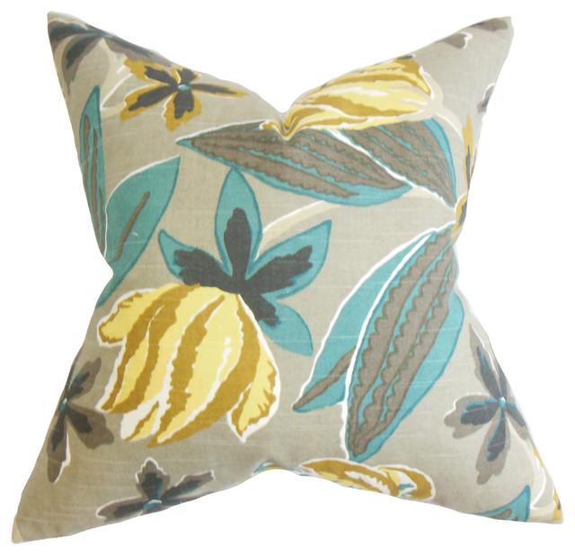 Averill Floral Bedding Sham Gray Standard Pillowcases