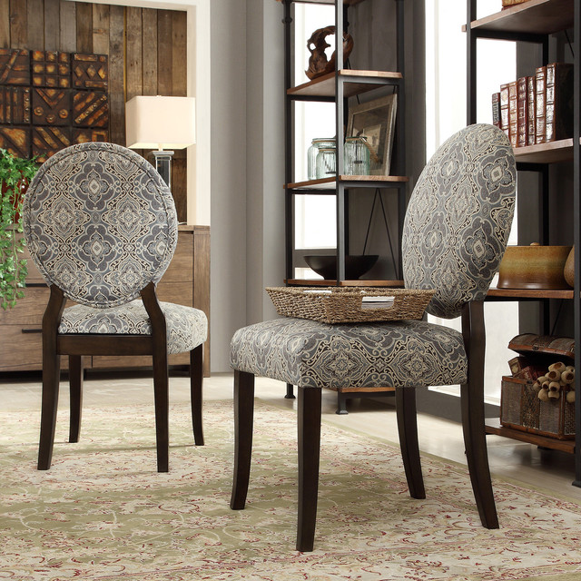 Inspire q paulina blue damask round back dining chair set for Inspire q dining room chairs
