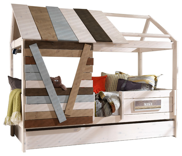 Treehouse twin trundle bed with mattresses beach style for Treehouse toddler bed