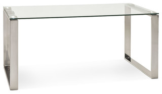 Grand bureau droit table diner 39 nevada 39 en verre for Meuble bureau 76