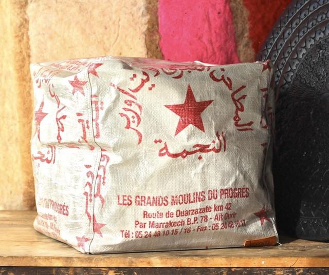 Farina recycled flour sack pouffe - Mediterranean - Floor Pillows & Pouffes - brisbane - by Hamimi