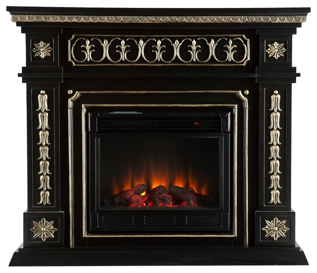 Sei Donovan Electric Fireplace Black Victorian Indoor Fireplaces By Luxvanity