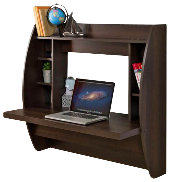 Prepac Floating Desk With Storage In Black Transitional