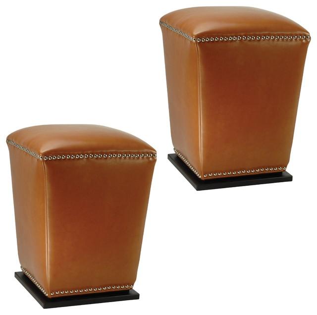 Safavieh Mason Storage Bicast Leather Saddle Ottomans (Set of 2 ...