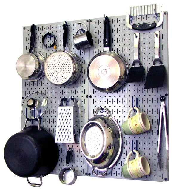 Kitchen Pegboard Organizer Pots and Pans, Gray Pegboard and White Accessories - Contemporary ...