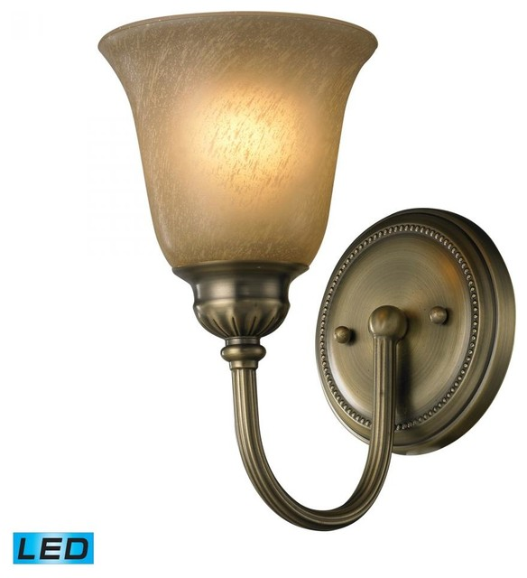 One Light Antique Brass Bathroom Sconce - Traditional - Wall Sconces - by We Got Lites