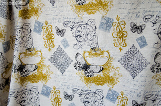 Butterfly Fabric Toile French Script Vintage Paris Gold