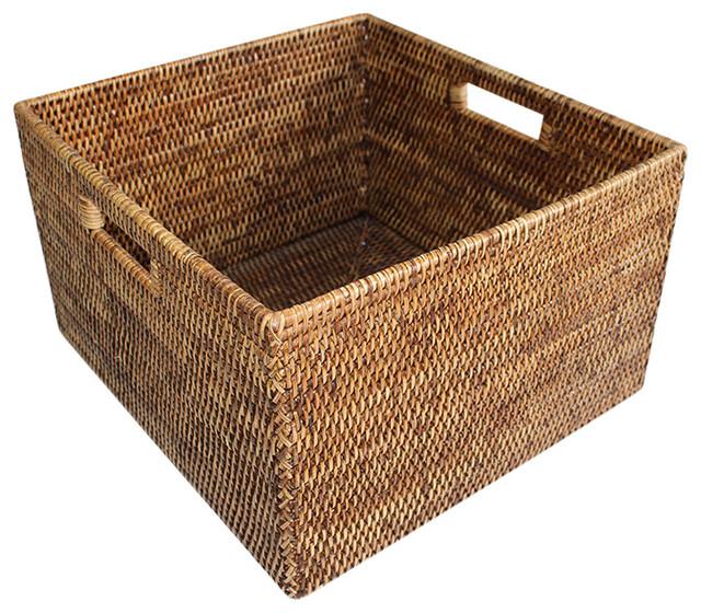 Rattan Basket Square Open W Cutout Handle Tropical