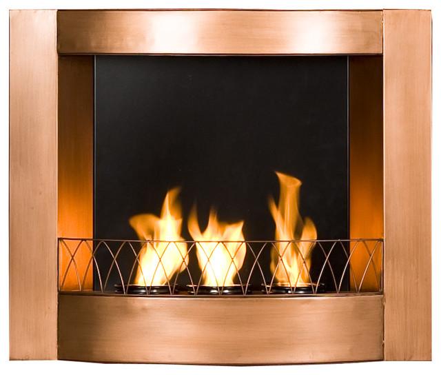 Hallston wall mount fireplace copper modern indoor fireplaces - Contemporary wall mount fireplace ...