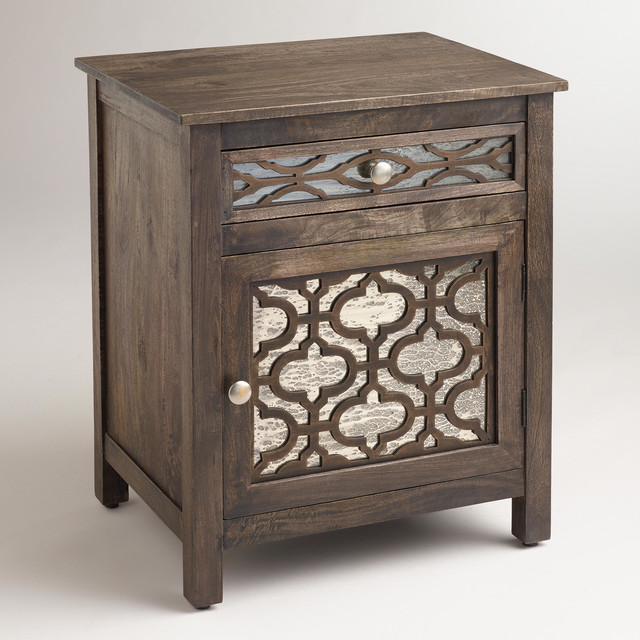 Kiran antiqued mirror cabinet contemporary nightstands for Mirror bedside cabinets