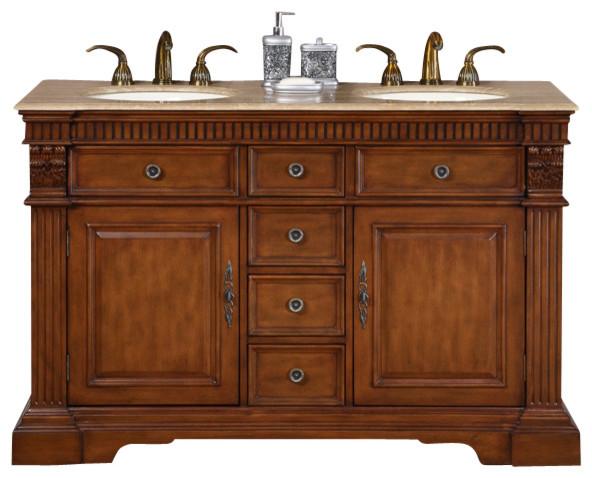 55 In Isabella Double Sink Bathroom Vanity In Cherry