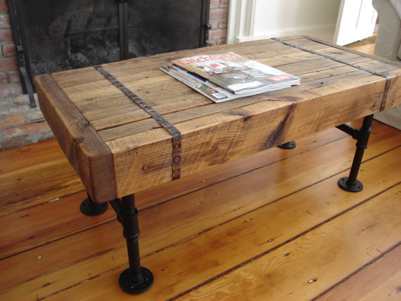 Reclaimed wood pipe coffee table for Rustic pipe table