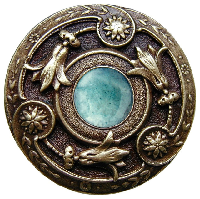 Jeweled Lily Knob (antique brass with green aventurine) - Traditional - Cabinet And Drawer Knobs ...