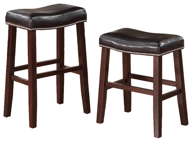 2 Barstools Faux Leather Saddle Nailhead Trim Modern