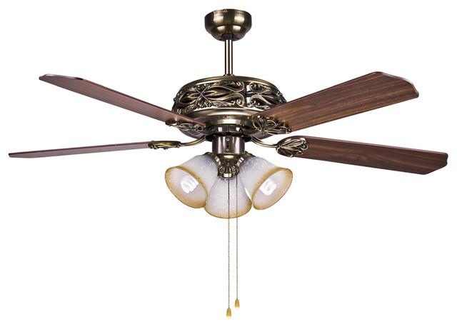 "Hampton Bay Bronze Ceiling Fan Light 52"" With Manual Pull"