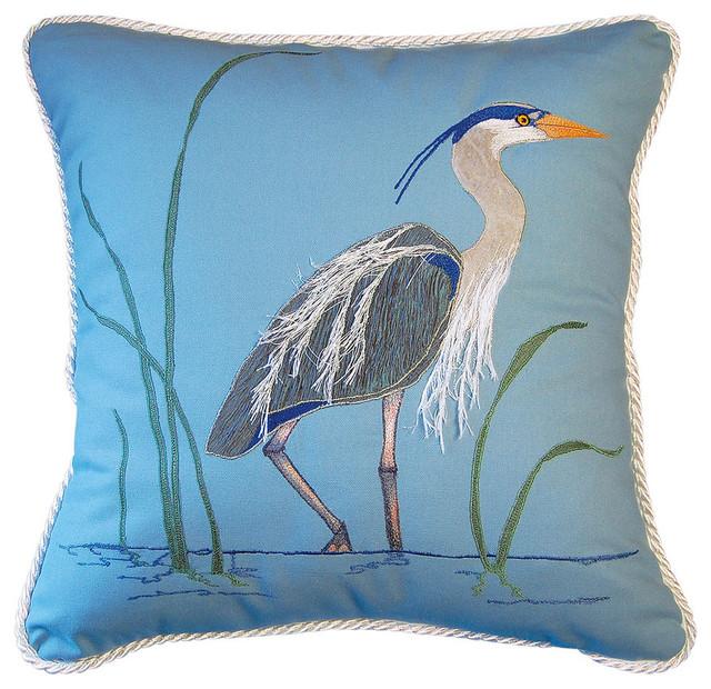 Blue Heron Throw Pillows : Blue Heron Applique Pillow - Beach Style - Decorative Pillows - by Rightside Design LLC
