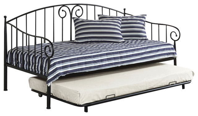 Transitional Metal Curvy Wrought Iron Look Twin Daybed Day Bed With Trundle, Bla