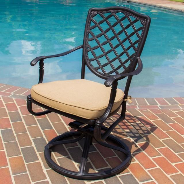 Laurel Bay Cast Aluminum Swivel Rocker Patio Dining Chair Modern Garden D