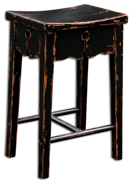 Dalit black counter stool traditional bar stools and - Traditional kitchen bar stools ...