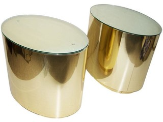 Brass Cylinder Side Tables - A Pair - Modern - Nightstands And Bedside Tables - by Chairish