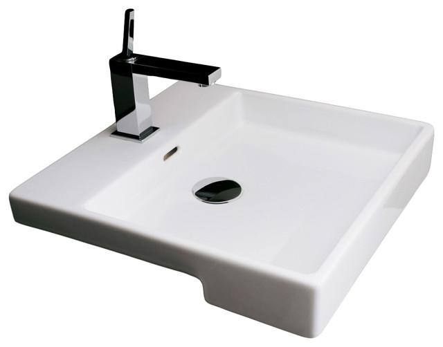 Plain high end 18 ceramic recessed bathroom sink for High end bathroom sink